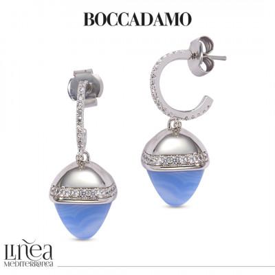 Orecchini mezzaluna con zirconi e cristallo piramidale color calcedonio azzurro