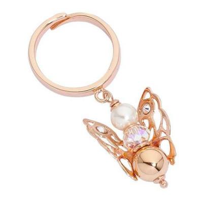 Anello rosato con angelo mini, perla Swarovski e boule rosata finale