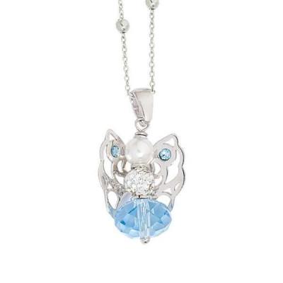 Collana con angelo mini in Swarovski acquamarina