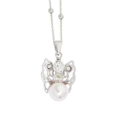 Collana con angelo mini, Swarovski e boule bianca finale