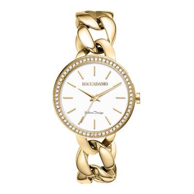 Orologio da polso donna con bracciale grumetta dorato e Swarovski