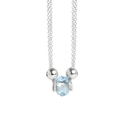 Collana doppio filo con cristallo Swarovski acqua marina