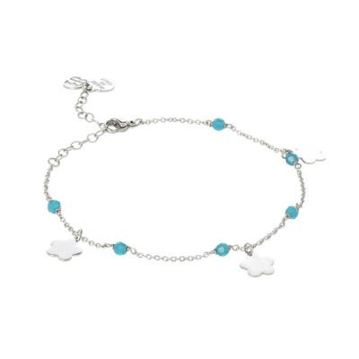 Cavigliera con Swarovski carribean blue opal  e charms a forma di fiore