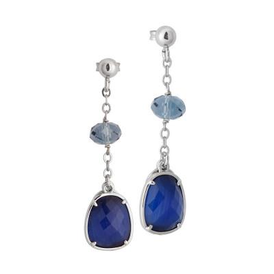 Orecchini pendenti con Swarovski blue denim