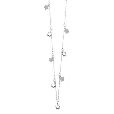 Collana lunga con perle e quadrifoglio