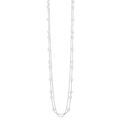 Collana doppio filo con coppie di perle