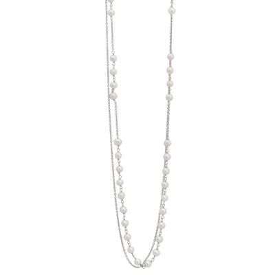 Collana doppio filo con decoro centrale di perle