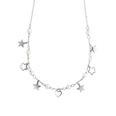 Collana con stelle, fiori e perle naturali