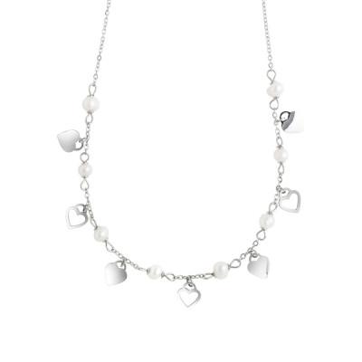 Collana con cuori e perle naturali