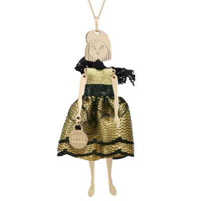 Collana con bambolina e pizzo nero e dorato