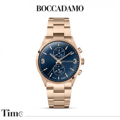 Orologio cronografo color oro rosa con quadrante blu