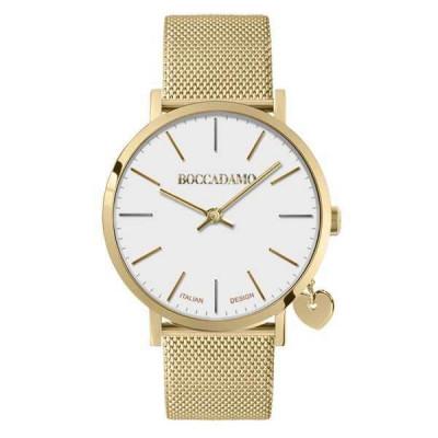 Orologio donna con quadrante bianco, cinturino in acciaio dorato e charm laterale