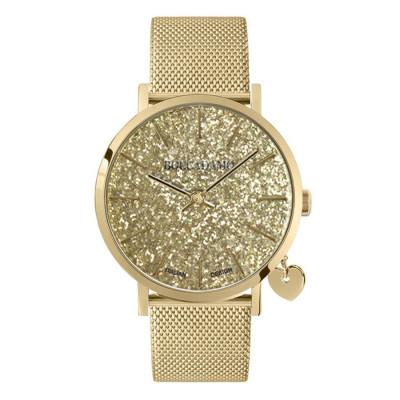 Orologio donna con quadrante in glitter dorato, cinturino maglia Milano e charm dorato laterale