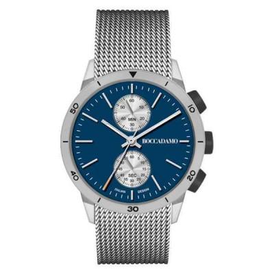 Orologio crono con quadrante blu e cinturino grigio