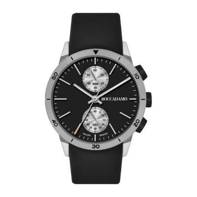 Orologio crono con quadrante nero e grigio e cinturino black