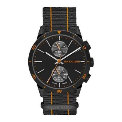 Orologio crono con quadrante nero e cinturino in nylon