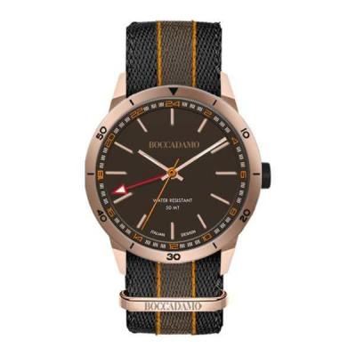 Orologio GMT con quadrante marrone, cassa rosata, cinturino in nylon