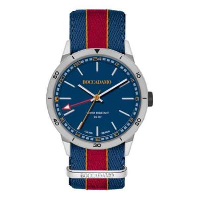 Orologio GMT con quadrante blu navy e cinturino in nylon