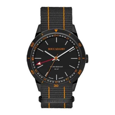 Orologio GMT con quadrante nero, corona silver e cinturino in nylon