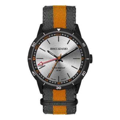 Orologio GMT con quadrante silver, cassa grigio scuro, cinturino in nylon