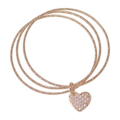 Multi bracciale rosato con charm a forma di cuore