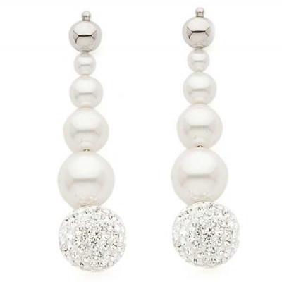 Orecchini pendenti con perle Swarovski e strass
