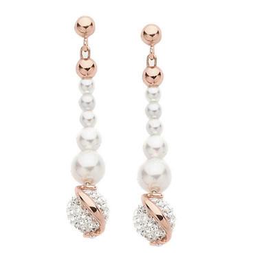 Pendenti in argento placcato oro rosa con perle e strass