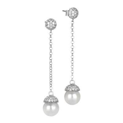 Orecchini in argento e zirconi con perla Swarovski pendente