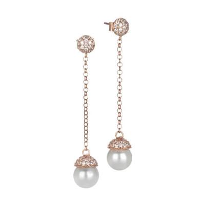 Orecchini in argento rosato e zirconi con perla Swarovski pendente