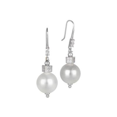 Orecchini pendenti con perla Swarovski e cubetto di zirconi