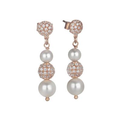 Orecchini pendenti rosati con perla Swarovski e zirconi
