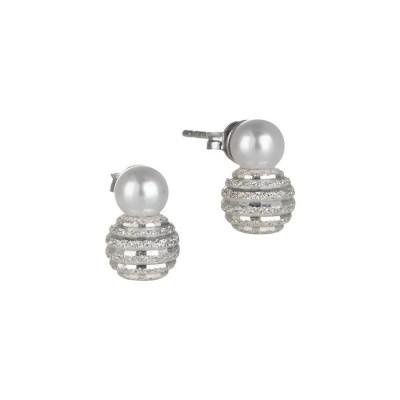 Orecchini con perla Swarovski e boule satinata in argento