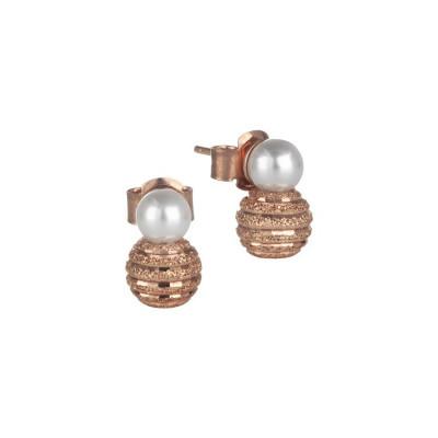 Orecchini con perla Swarovski e boule satinata in argento rosato