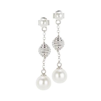 Orecchini con perle Swarovski e sfere diamantate