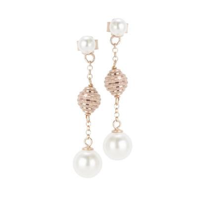 Orecchini rosa con perle Swarovski e sfere diamantate