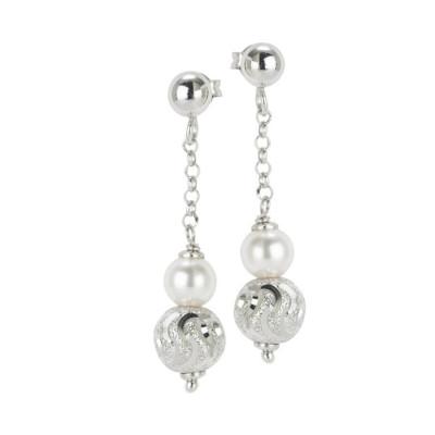 Orecchini con perla Swarovski e sfera diamantata effetto ondulato