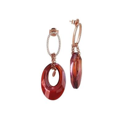 Orecchini con ovale di zirconi e Swarovski red magma