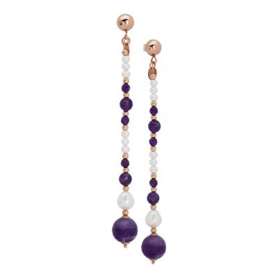 Orecchini pendenti con perle naturale e ametista