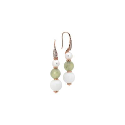 Orecchini con perle naturali, garnet e agata bianca
