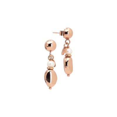 Orecchini placcati oro rosa con perla naturale