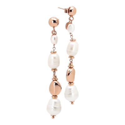 Orecchini placcati oro rosa con perle naturali barocche