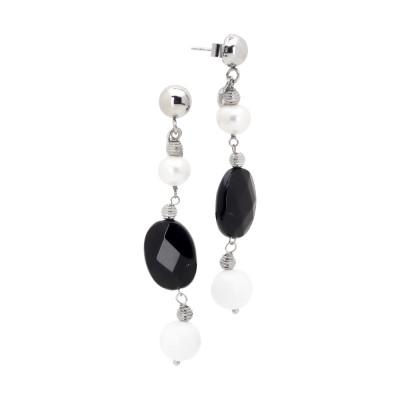 Orecchini con perla naturale, ossidiana e agata bianca