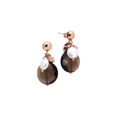 Orecchini con perle naturali e quarzo fumè