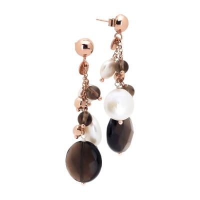 Orecchini pendenti con perle naturali e quarzo fumè