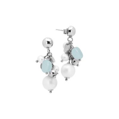 Orecchini con ciuffetto di perle naturali, acquamarina e agata bianca