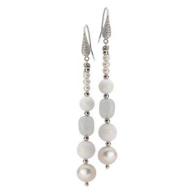 Orecchini pendenti con perle naturali, acquamarina e agata bianca