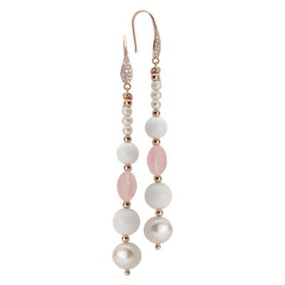 Orecchini pendenti con perle naturali, quarzo rosa e agata bianca