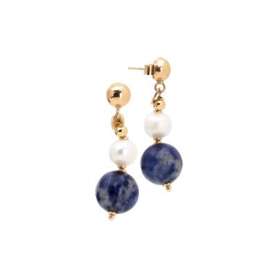 Orecchini pendenti con perle naturali e sodalite