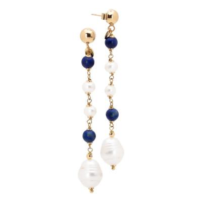 Orecchini pendenti con perle naturali, sodalite e lapislazzuli