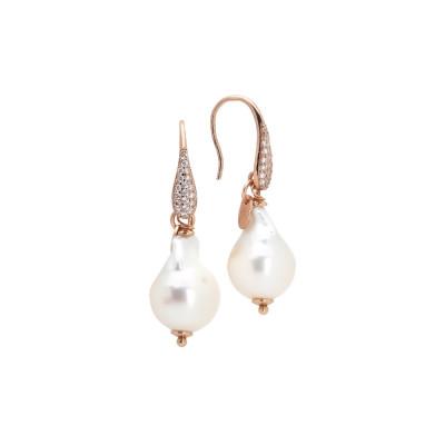 Orecchini placcati oro rosa con zirconi e perla barocca